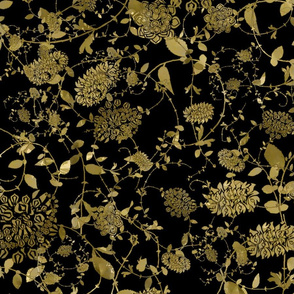 Gold Flowers on Black 24x24