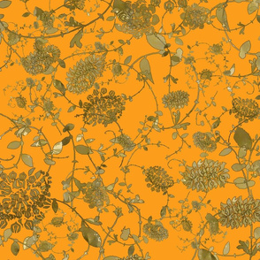 Gold Flowers on Orange 24x24