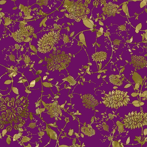 Gold Flowers on Purple 24x24