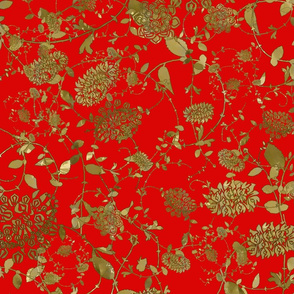 Gold Flowers on Red 24x24