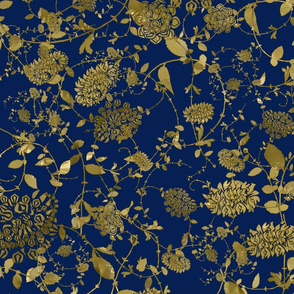 Gold Flowers on Navy 24x24
