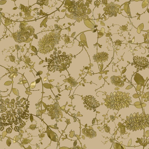 Gold Flowers on Taupe 24 x 24