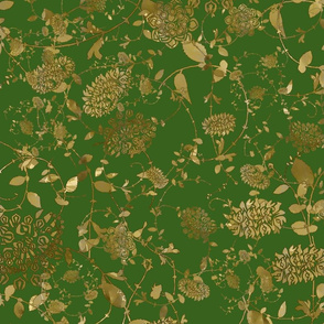 Gold Flowers on Green 24x24