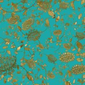 Gold Flowers on Turquoise  24 x 24