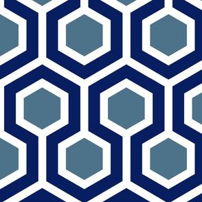 Blue & White GeoHexagon