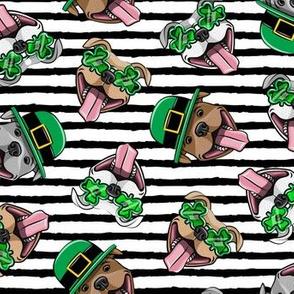 Happy Pit Bulls - St. Patricks Day - Irish -  black stripes - shamrock glasses - LAD19