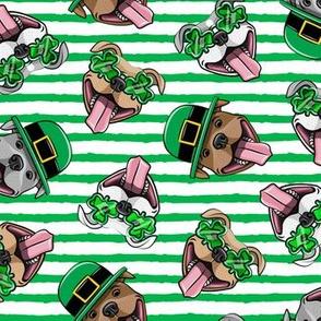 Happy Pit Bulls - St. Patricks Day - Irish - green stripes - shamrock glasses - LAD19