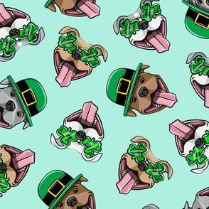 Happy Pit Bulls - St. Patricks Day - Irish - mint - shamrock glasses - LAD19