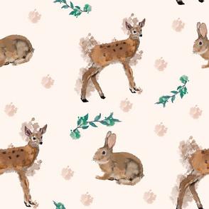 deer with rabbit