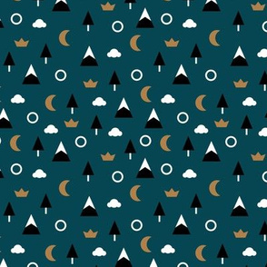 Geometric minimal icon style winter wonderland trees moon clouds and mountains navy blue night rust
