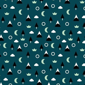 Geometric minimal icon style winter wonderland trees moon clouds and mountains navy blue night mint