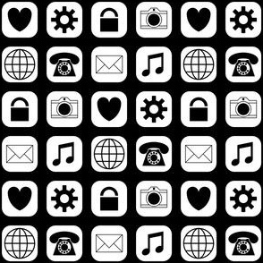 09503279 : application icons : black and white