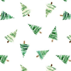 Tossed fir trees • watercolor christmas