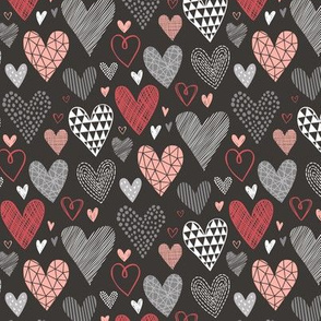 Hearts Geometric Love Valentine Red on Black Smaller 1,5 inch