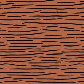 Little zebra tiger animal print abstract ink lines and strokes in waves rust copper