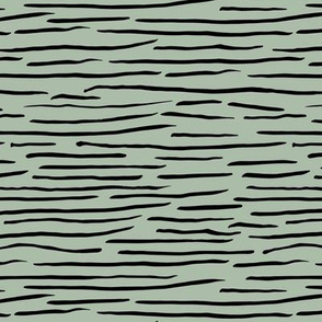 Little zebra tiger animal print abstract ink lines and strokes in waves sage green