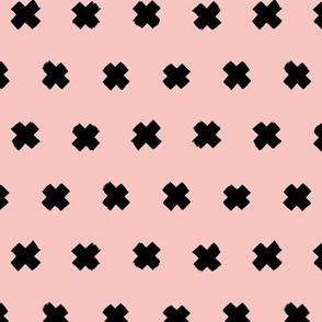 Raw brush x minimal cross plus designs abstract scandinavian style soft pink black