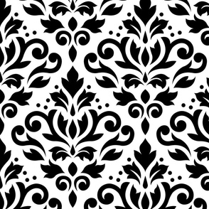 Scroll Damask Black on White Small Pattern