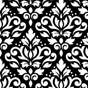Scroll Damask White on Black Small Pattern