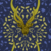 Golden Deer Wreaths on Blue