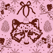 Maroon Christmas Raccoons on Pink