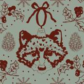 Maroon Christmas Raccoons on Green