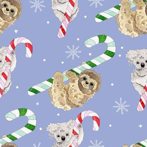 Koalas and Sloths on Candy Canes