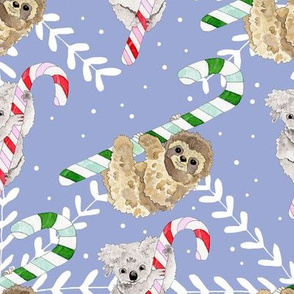 Snowflake Candy Cane Koalas and Sloths