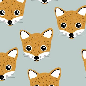 Adorable baby fox animal portrait woodland theme Scandinavian modern ochre yellow cool mint