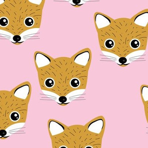 Adorable baby fox animal portrait woodland theme Scandinavian modern ochre yellow pink girls