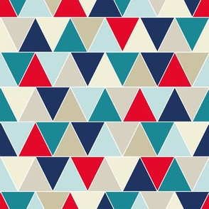 Triangle Pattern in Blue, Red, and Teal