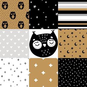 Owl patchwork- honey, black, white - scandi nursery