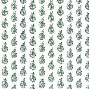 Green indian block print lotus print green white