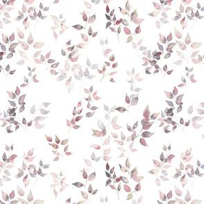 Watercolr leaves on white