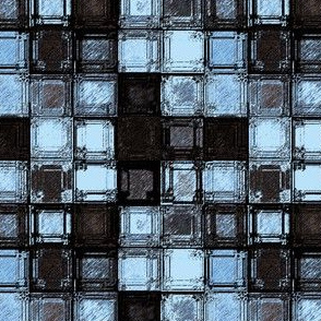 Squares in Blue and Black