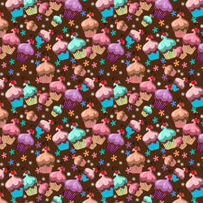 Cupcake Sweet with Chocolate Brown Background