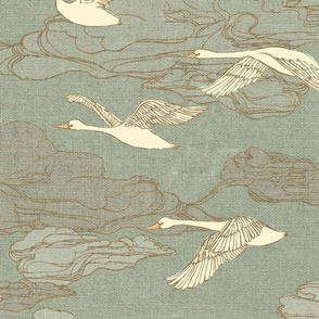 The Wild Swans {Antique Green Shades} - large scale