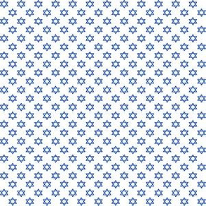 Quarter Inch Blue Star of David on White
