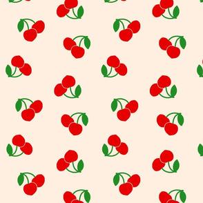 Pop Art Cherries! Red on cream beige, large