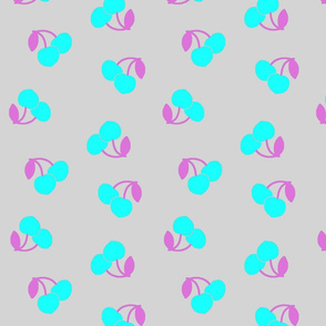 Pop Art Cherries! Turquoise on silver grey, large