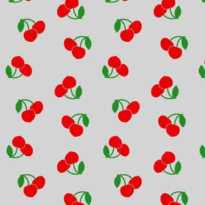 Pop Art Cherries! Red on silver grey, large