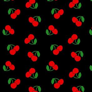 Pop Art Cherries! Red on black, large