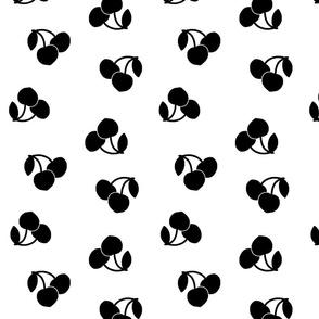 Art Deco Cherries! Black on white, large