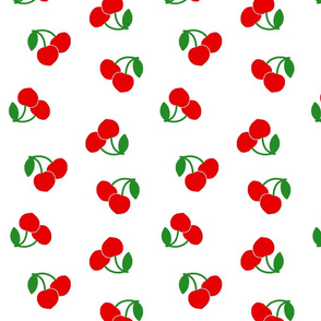 Pop Art Cherries! Red on white, large