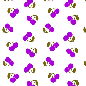 Pop Art Cherries!  Purple on white, large