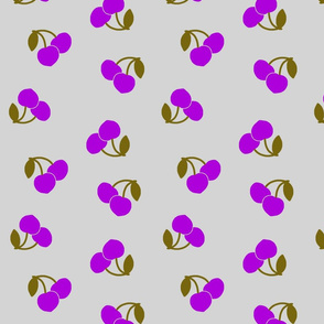 Pop Art Cherries! Purple on silver grey, large