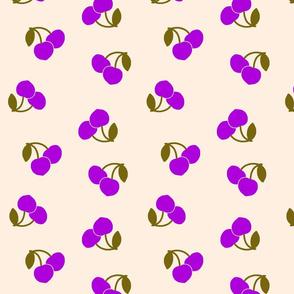 Pop Art Cherries! Purple on cream beige, large