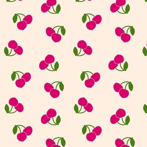 Pop Art Cherries! Pink on cream beige, large