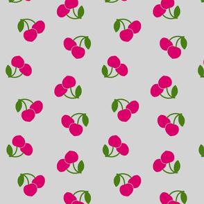 Pop Art Cherries! Pink on silver grey, large