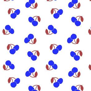 Pop Art Cherries! Vivid blue on white, large
